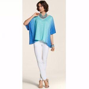 CHICO'S Paula VNK Body Poncho Sequin Blue Ombre